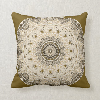 Patterns in Gold and Off White Mandala  Pillow