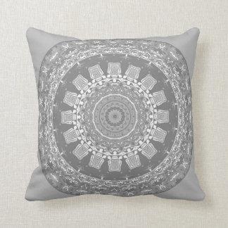 Patterns in Silvery Gray Mandala Pillow