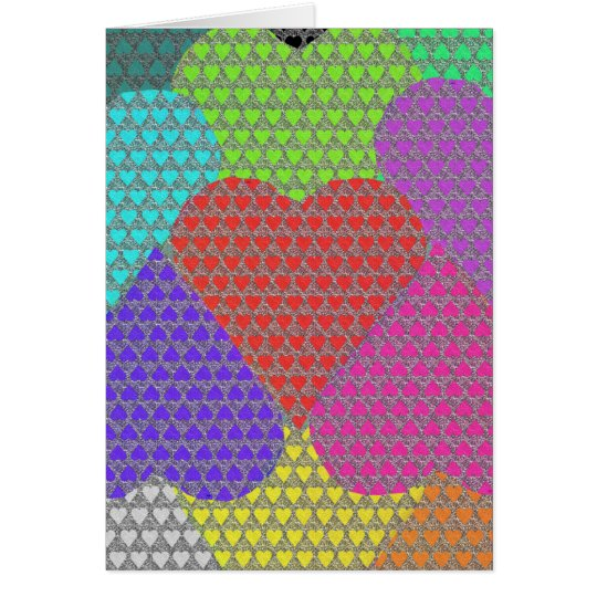 Patterns of Hearts in Multicolored Card