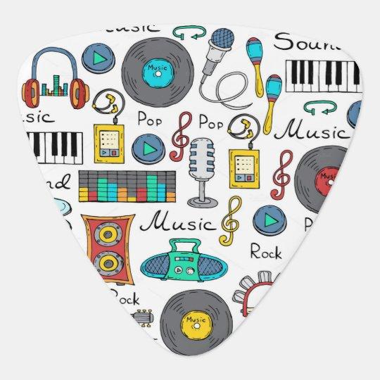 Patterns with music symbols guitar pick