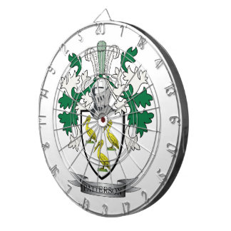 Patterson Family Crest Coat of Arms Dartboard