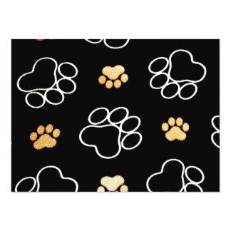 Pattes mignonnes de chien carton d'invitation  13,97 cm x 19,05 cm