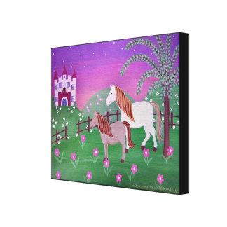 Pâturages royaux - les chevaux du château 16x20 toiles tendues sur châssis