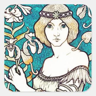 Paul Berthon Salon Des Cent French Art Nouveau Square Stickers