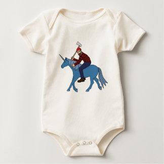 Paul Bunyan Riding Blue Unicorn Baby Bodysuit
