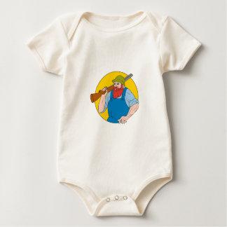 Paul Bunyan the Hunter Circle Drawing Baby Bodysuit