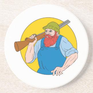 Paul Bunyan the Hunter Circle Drawing Coaster