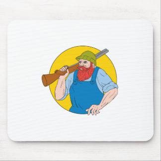 Paul Bunyan the Hunter Circle Drawing Mouse Pad