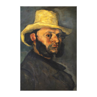 Paul Cezanne Gustave Boyera in a Straw Hat Canvas Print