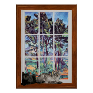 Paul Cezanne - Pines And Aqueduct 3D Window Frame Poster