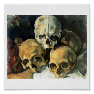 Paul Cézanne, Pyramid  of Skulls 1901 fine art Poster