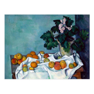 Paul Cezanne Still Life Apples and Primroses Postcard