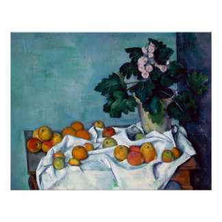Paul Cezanne Still Life Apples and Primroses Poster