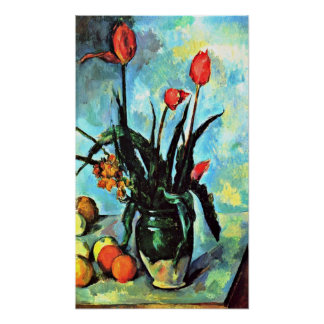 Paul Cezanne - Still life vase with tulips Poster