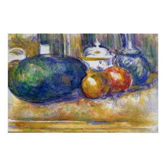 Paul Cezanne Still Life Watermelon Pomegranates Poster