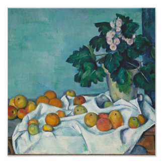 Paul Cézanne Still Life with Apples and Primroses Poster