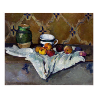 Paul Cezanne Still Life with Jar, Cup, and Apples Poster