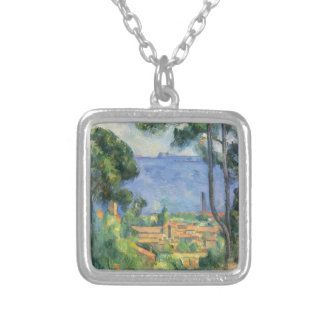 Paul Cezanne - View of L'Estaque and Chateaux d'If Silver Plated Necklace