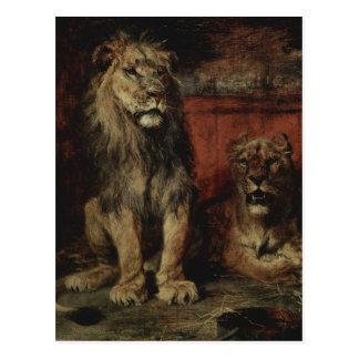 Paul Friedrich Meyerheim - Lions Postcard