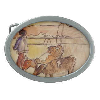 Paul Gauguin- Bretons and cows Oval Belt Buckles