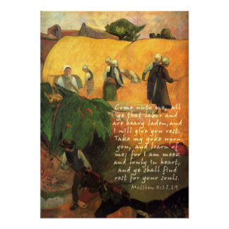 Paul Gauguin Haymaking With Scripture Verse Poster