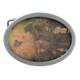 Paul Gauguin- Landscape with cows in an Orchard Oval Belt Buckle
