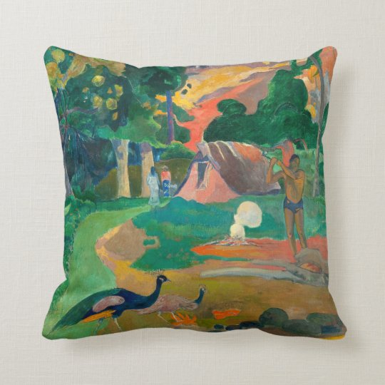 Paul Gauguin Matamoe, Landscape with Peacocks Throw Pillow