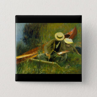 Paul Helieu by John Singer Sargent 2 Inch Square Button