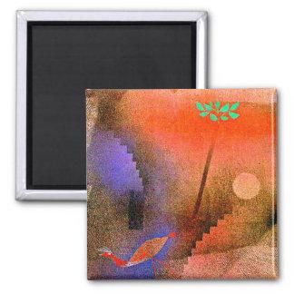 Paul Klee art - Bird Wandering Off Magnet