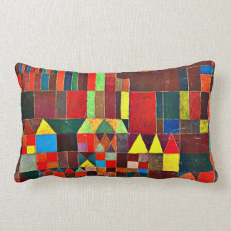 Paul Klee art: Castle and Sun, Klee painting Lumbar Pillow
