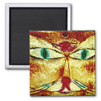 Paul Klee art: Cat and Bird Square Magnet