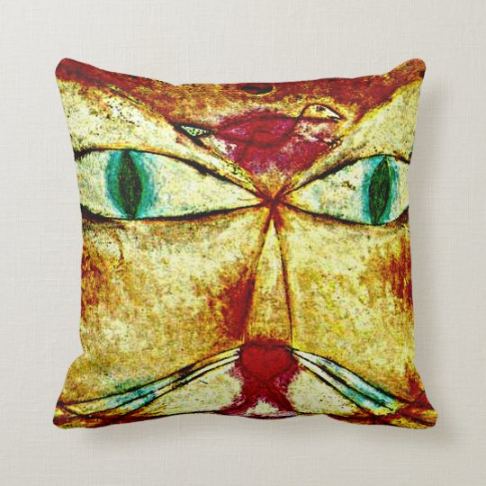 Paul Klee art: Cat and Bird Throw Pillow