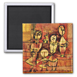 Paul Klee Art: Children and Dog Square Magnet