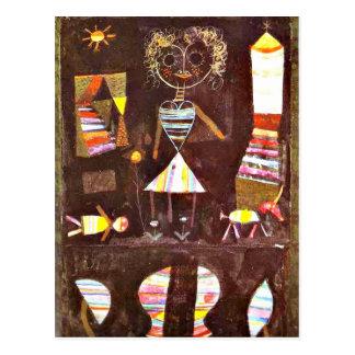 Paul Klee art: Puppet Theater Postcard