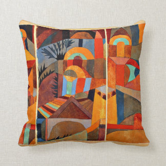 Paul Klee art: Temple Gardens Throw Pillow