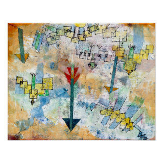 Paul Klee Birds Swooping Down and Arrows Poster