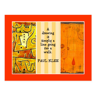 Paul Klee Quotation and Artwork Collage Postcard