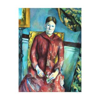 Paul Madame Cézanne in a Red Dress Canvas Print