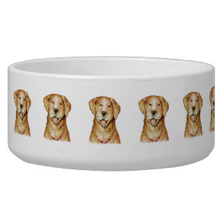 "Paul McGehee ""Golden Retriever"" Large Dog Bowl"