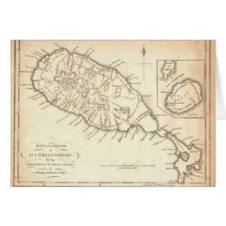 "Paul McGehee ""Old St. Kitts & Nevis Map"" Note Card"
