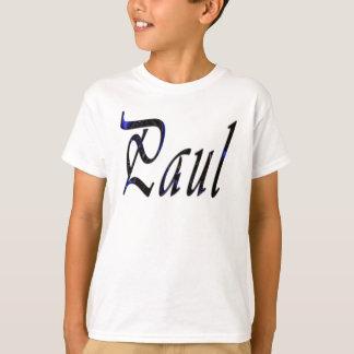 Paul, Name, Cursive Logo, Boys White T-shirt