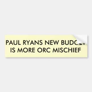PAUL RYANS BUDGET BUMPER STICKER
