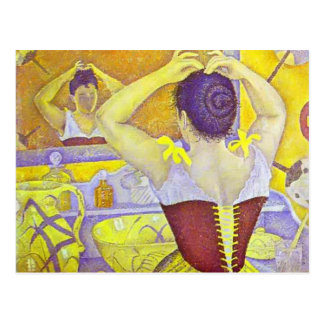 Paul Signac- Woman at her toilette wearing corset Postcard