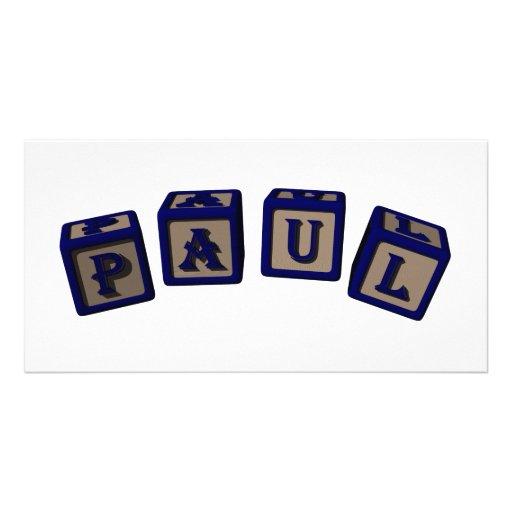 Paul Toy blocks in blue Photo Card