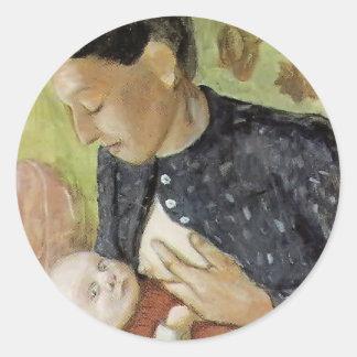 Paula Becker- Breastfeeding mother of Paula Becker Round Sticker