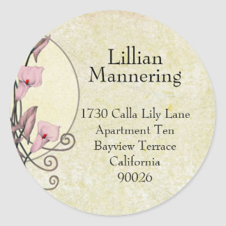 Pauline's Moon & Lilies in Yellow - Address Labels Round Sticker