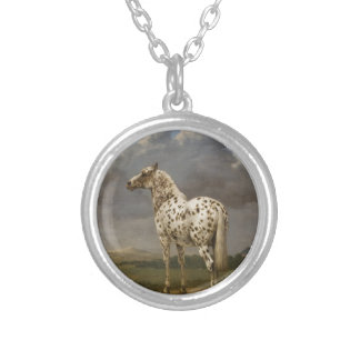 """Paulus Potter - The """"Piebald"""" Horse. Vintage Image Silver Plated Necklace"""