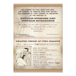 paumes vintages épousant des invitations de carton d'invitation  12,7 cm x 17,78 cm