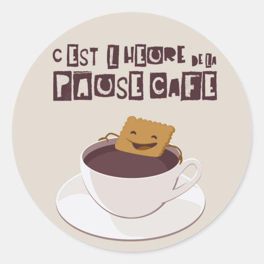 Pause café classic round sticker