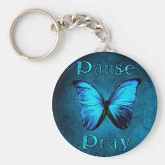 Pause Pray Blue Butterfly Basic Round Button Keychain